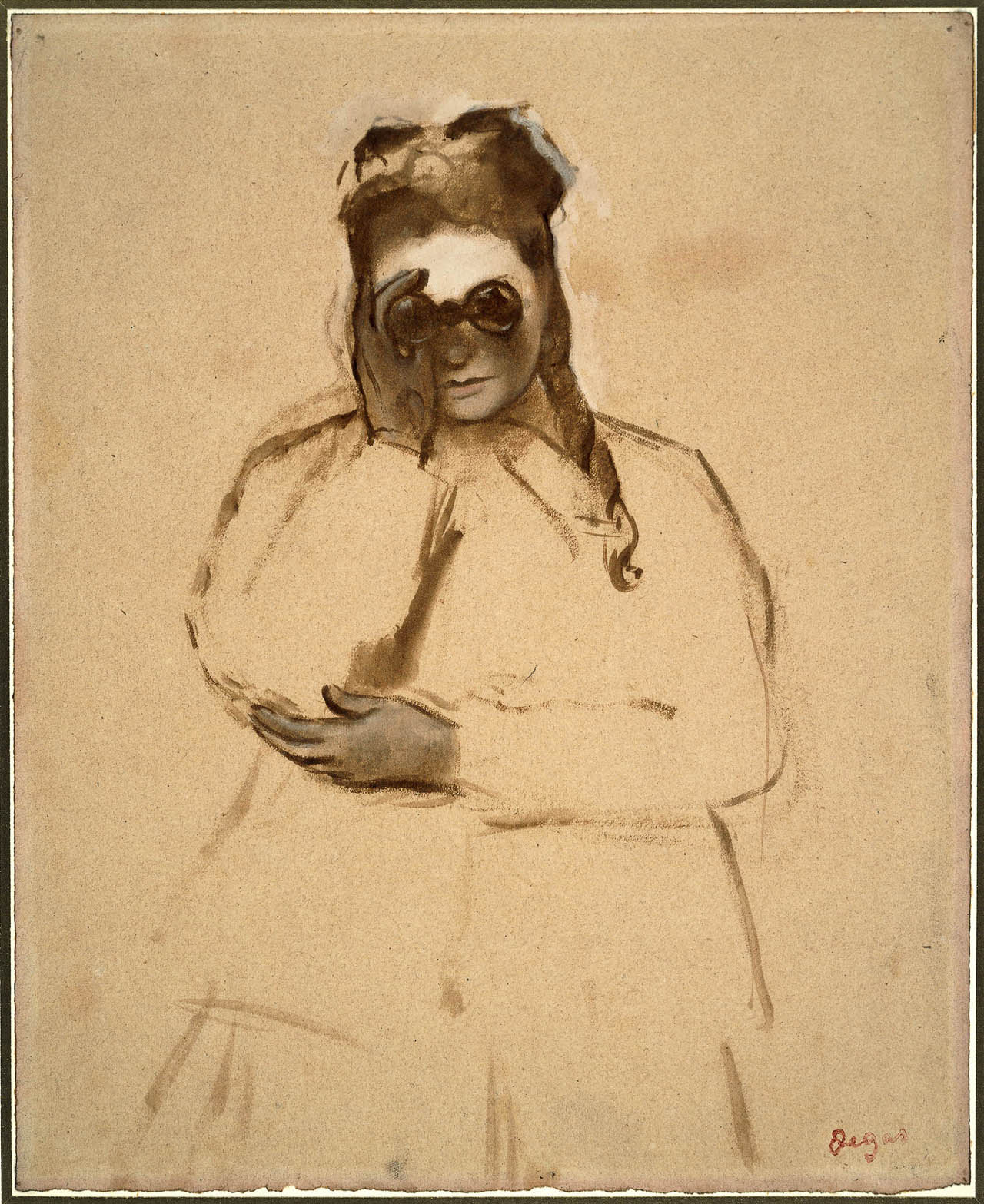 Edgar Degas: drawing of a woman with field glasses, British Museum 1968,0210.26
